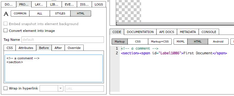 Adding code before element markup