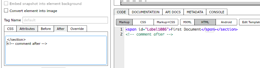 Adding code after element markup