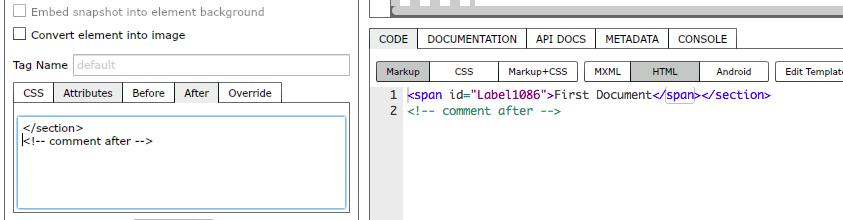 Adding code after element markup