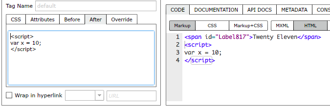 Adding a script tag after an element's markup