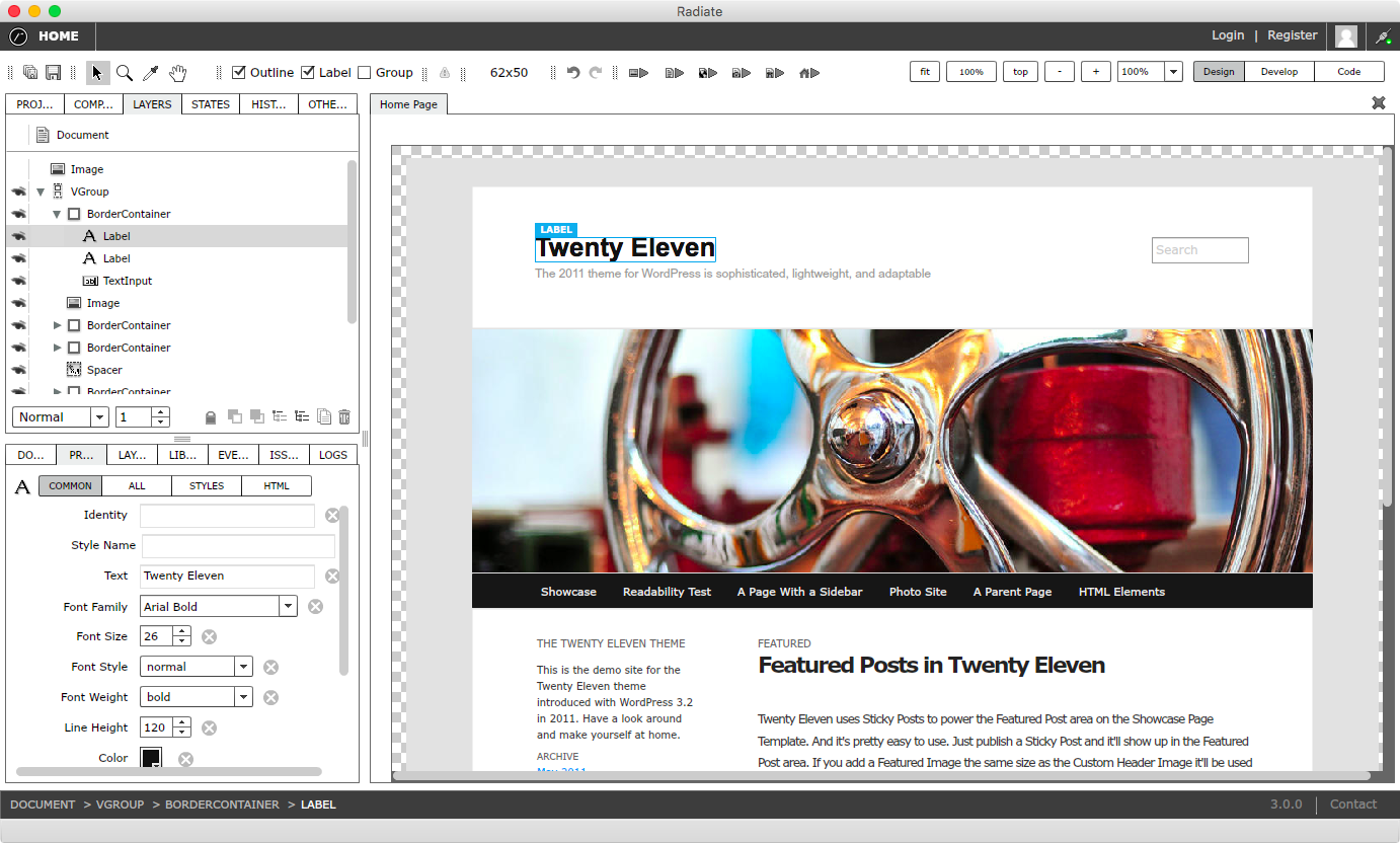 Advanced layout and design view