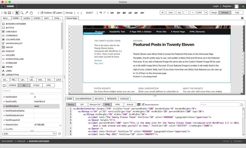 Showing MXML code view