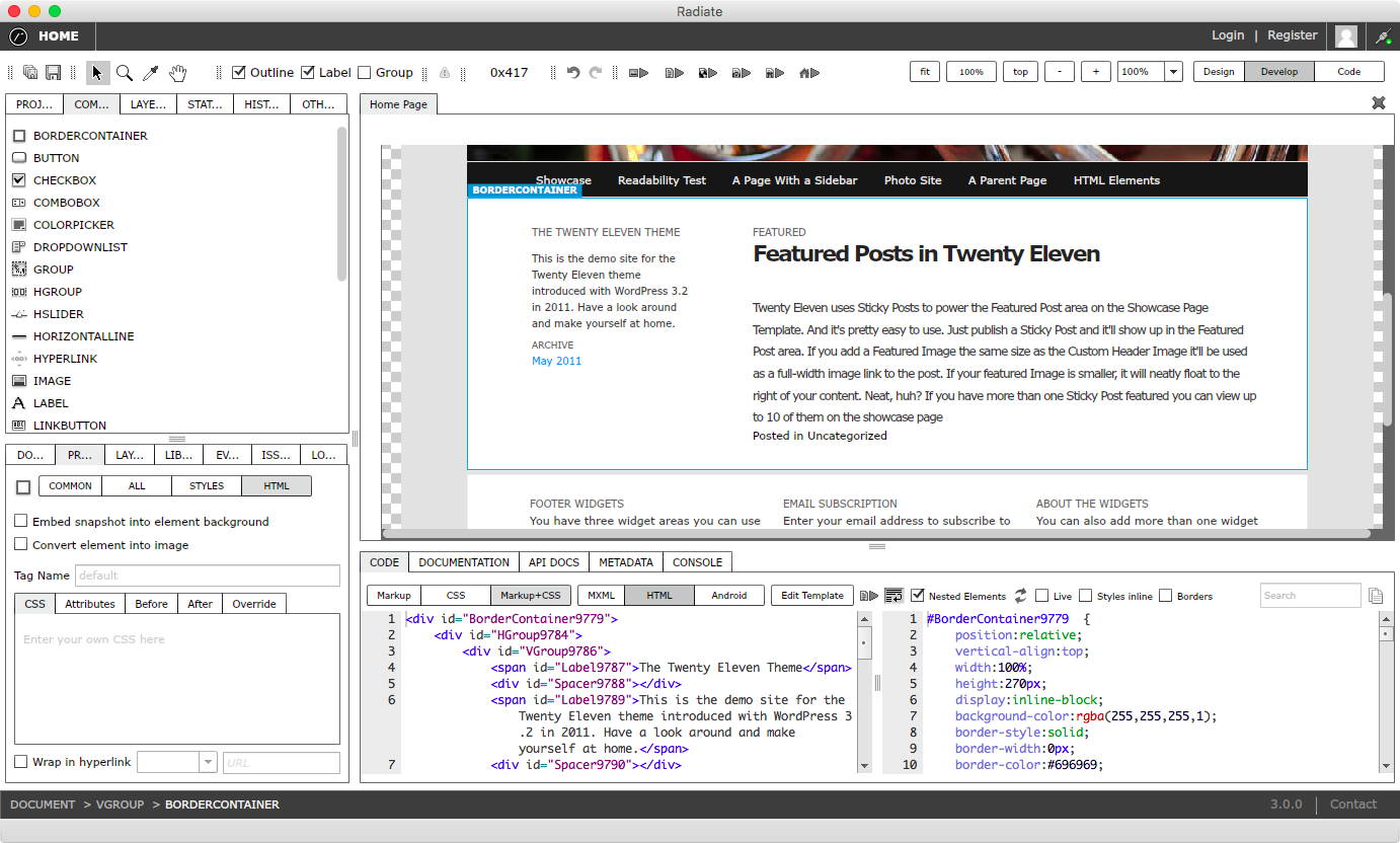 Code view showing HTML, CSS, JavaScript. Customize with the HTML before, after, override, additional attributes, and additional styles